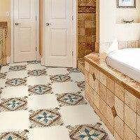 4pcs Moroccan Pattern Self adhesive Wallpaper Bathroom Flooring Sticker Anti slip Kitchen Bedroom Living Room Decoration 30x30cm