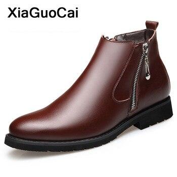 ee3f3153985 Zapatos de hombre invierno cálido hombre Martin botas de nieve con piel  Retro cuero botas de tobillo de hombre con cremallera alto calzado de hombre  ...
