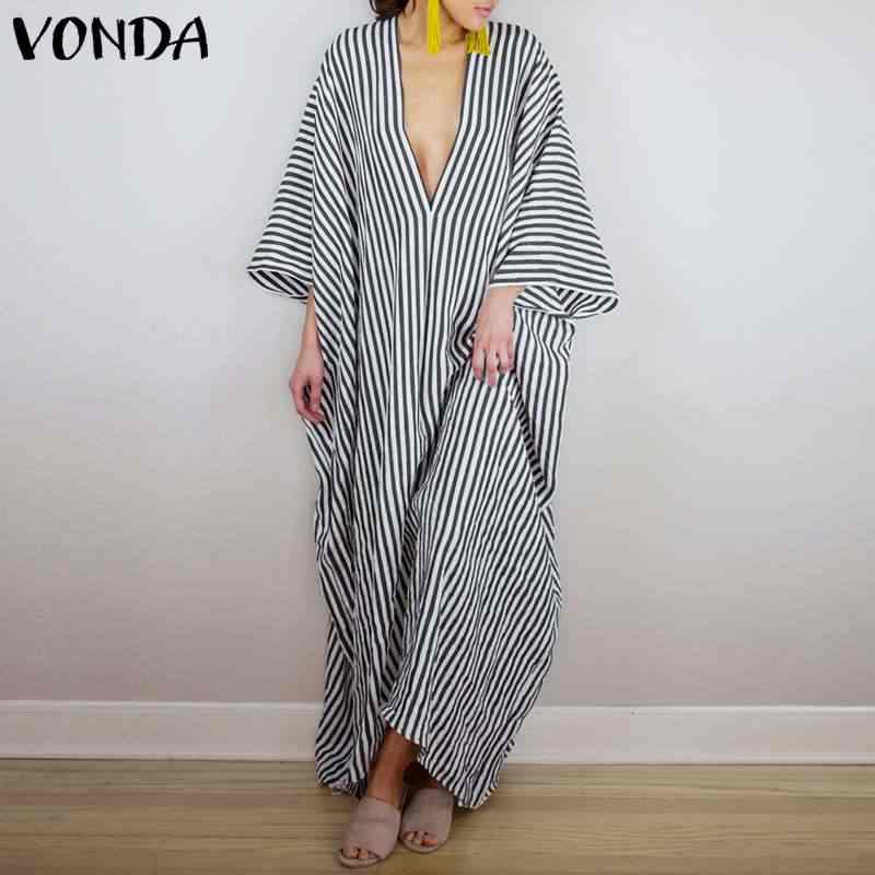 VONDA/2019, осеннее платье, богемное, женское, сексуальное, v-образный вырез, асимметричный подол, вечерние, в полоску, макси, Длинное свободное платье, Vestidos, большие размеры