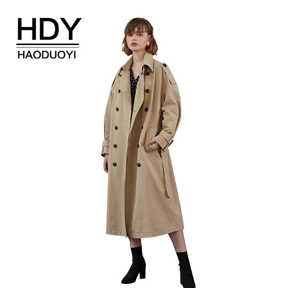 HDY Haoduoyi Simplicity Double-breasted Lapel Waist Knot Loose Shoulder Sleeve Emblem Medium Length Fund Pure Color Windbreaker