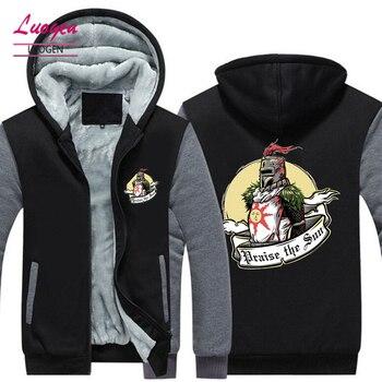 ABD BOYUTU Oyun Övgü güneş Erkekler Kalınlaşmak Kapşonlu Moda Kış sıcak Koyu Ruhlar hoodies Sıcak Unisex Ceket Erkek Mont 2018 Yeni