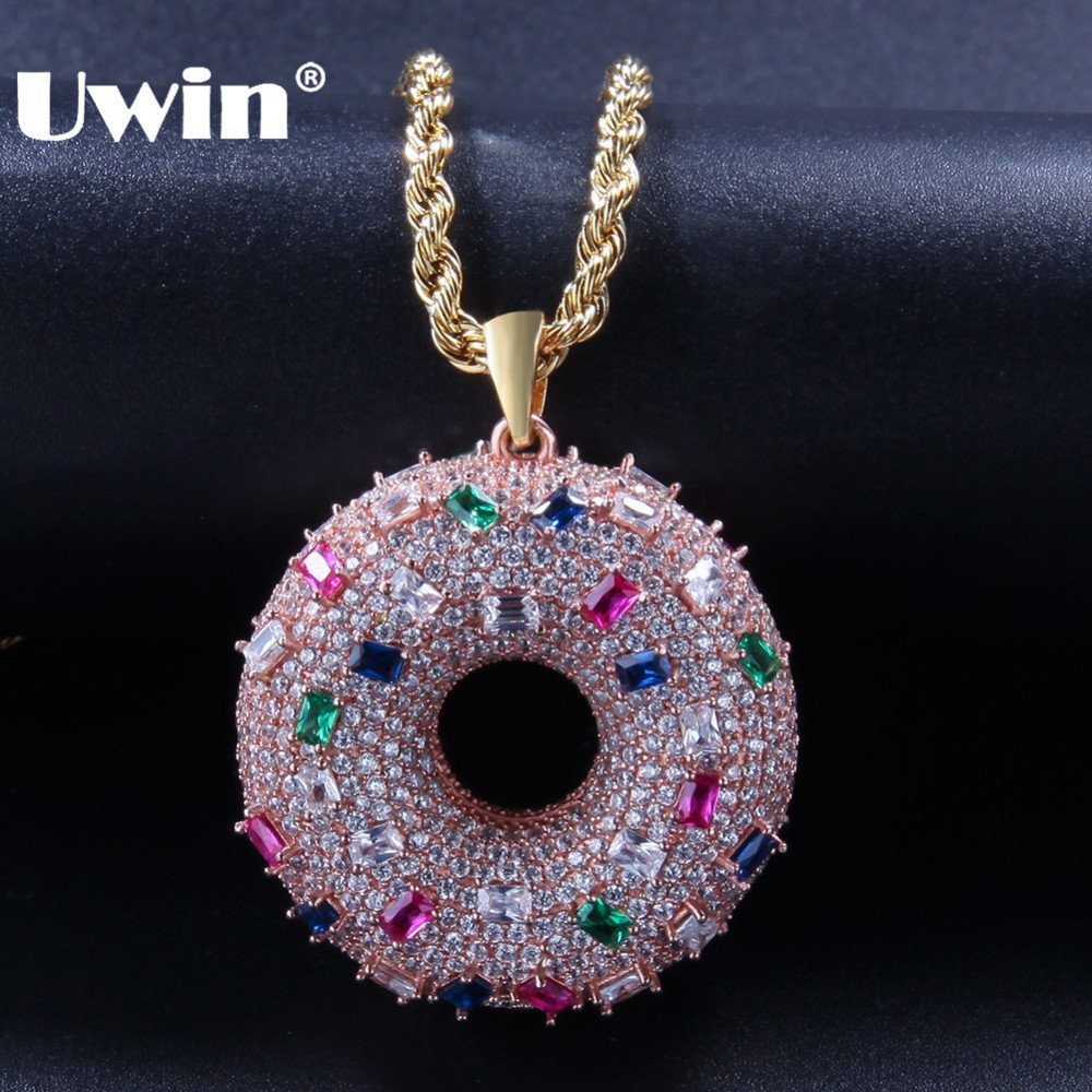 UWIN Two sided Cute Doughnut Shape Pendant Necklaces Fashion Rose Gold Color Full Iced Colored Cubic Zirconia Hiphop Jewelry-in Pendant Necklaces from Jewelry & Accessories    1