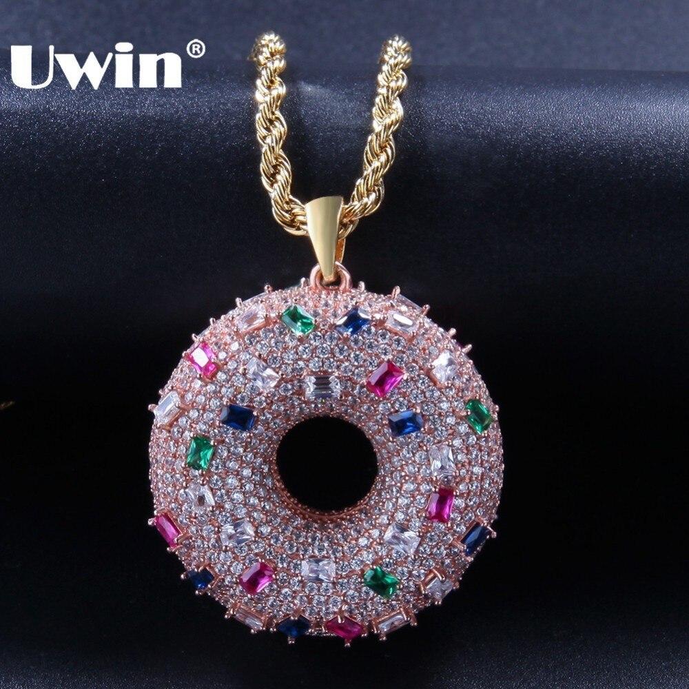 UWIN deux faces mignon beignet forme pendentif colliers mode Rose or couleur pleine glacé couleur cubique zircone Hiphop bijoux-in Pendentifs de collier from Bijoux et Accessoires    1
