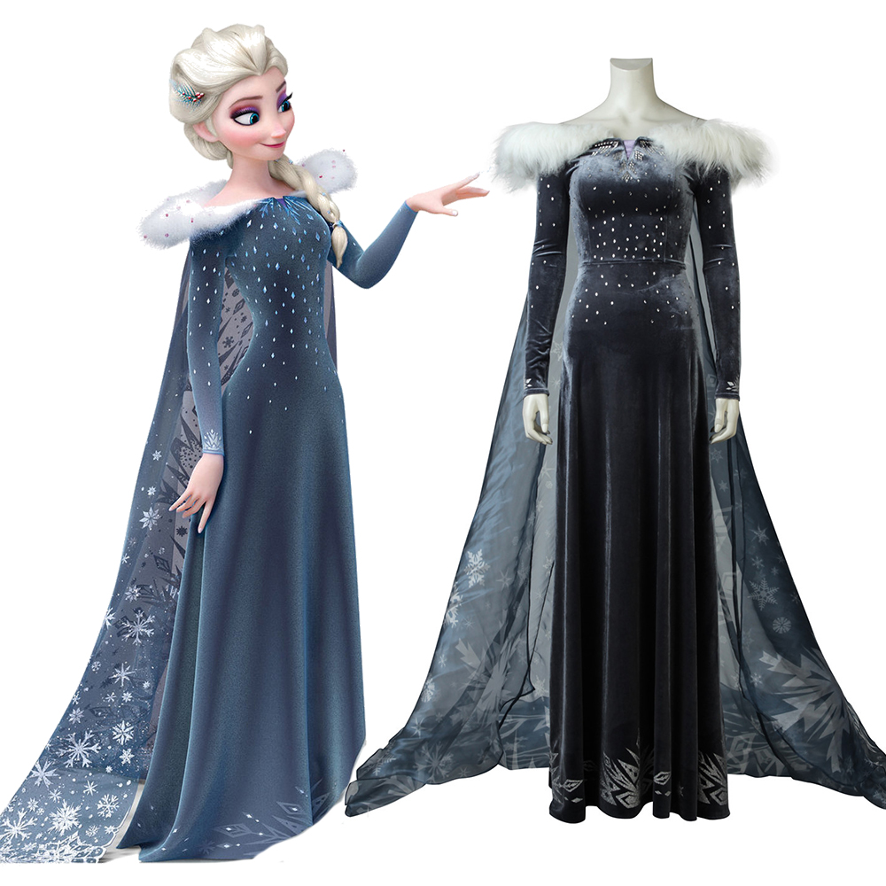 Olaf's Frozen Adventure Elsa Cosplay Costume Women Fancy Dress with Cloak