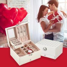 Büyük yüzük takı saklama kutusu 2 katmanlı küpe kolye vitrin hediyeler doğum günü kız arkadaşı arkadaş çiftler sevgililer günü