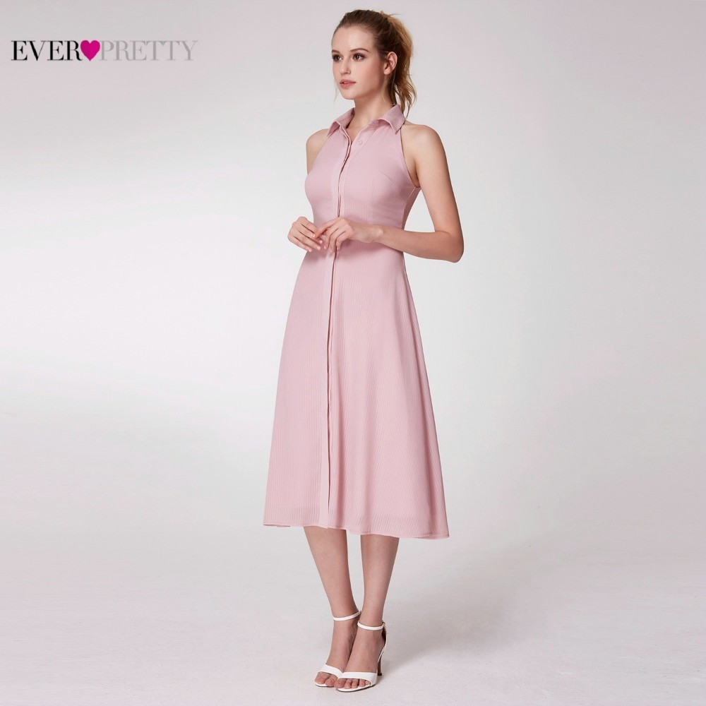 Image 5 - Pink Elegant Cocktail Dresses Ever Pretty AS07196PK A Line High Neck Casual Women Short Summer Party Dresses Robe Cocktail 2019-in Cocktail Dresses from Weddings & Events