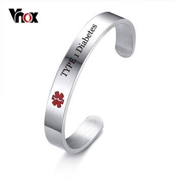 6fe10af13396 Vnox de la Diabetes de tipo 1 nombre de enfermedad de alerta médica ID  pulsera brazalete de brazalete para hombres joyería grabado