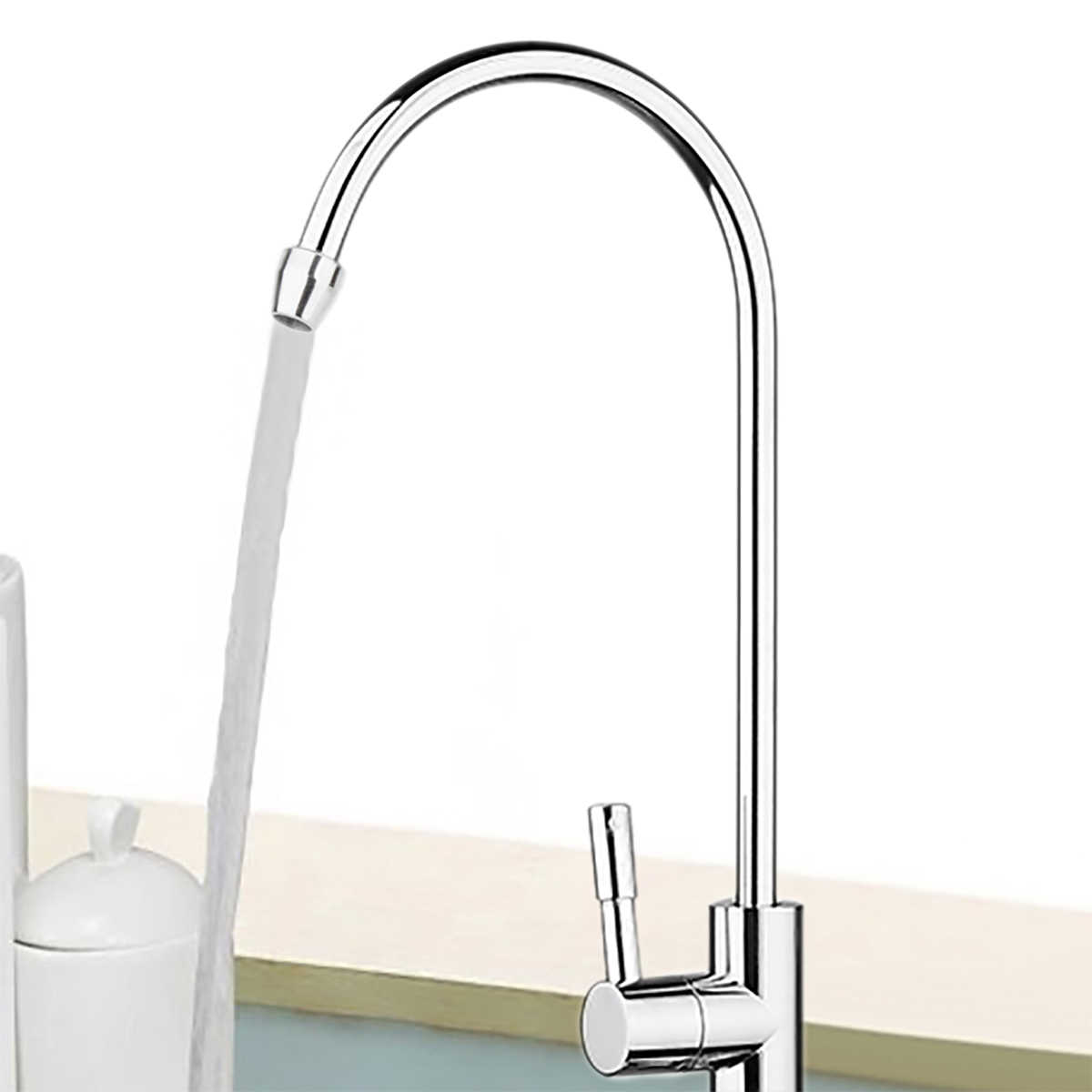 "1pc Nieuwe Drinkwater Kraan 1/4 ""360 Graden Chrome Osmose Drinkwater RO Water Filter Kraan Afwerking Reverse Sink"