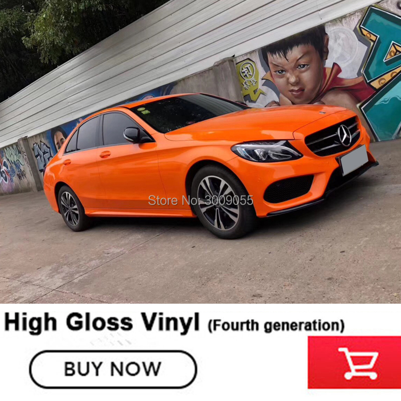 Feuille de vinyle haute brillance vinyle orange Wrap autocollant Air/bulle libre cas réel montrer amovible à long terme application sans bulles