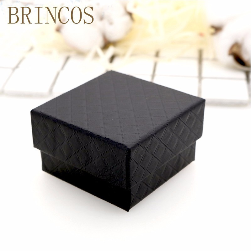 New 1pc Square Jewelry Organizer Box Engagement Ring For Earrings Necklace Bracelet Display Gift Box Holder Black  White Navy C