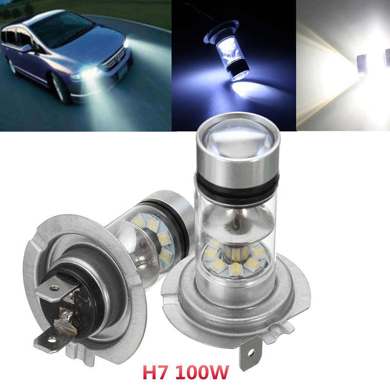 JX-LCLYL 2pcs H7 100W LED Car Fog Tail Driving Light Headlight Lamp Bulb White