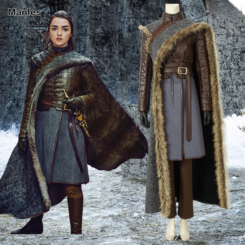 Game Of Thrones 8 Arya Stark Costume Cosplay Adult Halloween Christmas Carnival Outfit Fancy Full Set