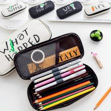 NOVERTY Larger Capacity Multifunctional Canvas School Pencil Case Creative Pen Bag Box Pouch Office Stationary Supplies 04917(China)