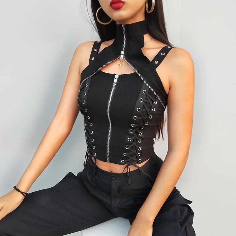Women Tops Gothic Criss Cross Zipper Up Top Summer Punk Sleeveless Women Cami Lace-Up Ladies Tank Top