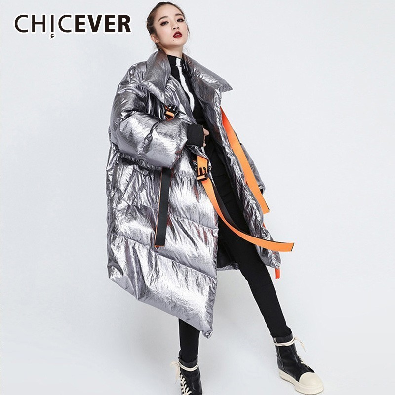 CHICEVER 2019 Ribbons Women s Winter Down Jackets Stand Collar Long Sleeve Asymmetric Jacket Female Fashion