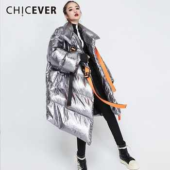 CHICEVER 2019 Ribbons Women\'s Winter Down Jackets Stand Collar Long Sleeve Asymmetric Jacket Female Fashion Clothes Tide - Category 🛒 Women\'s Clothing