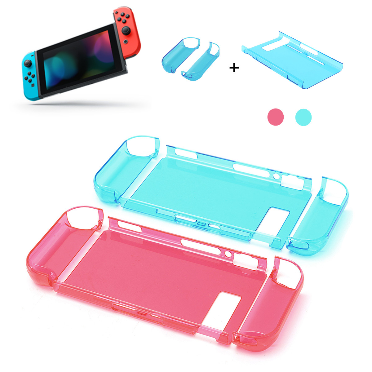 For Nintend Switch Game Console Skin Shell Transparent Crystal Protective Hard Case Cover Protector Bag Ultra Thin PC Set