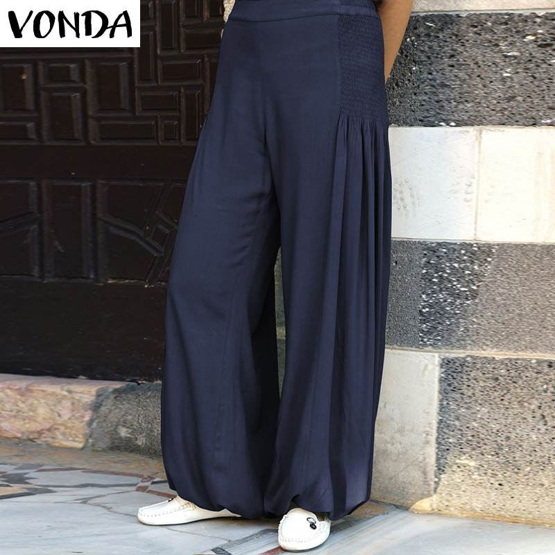 VONDA Women   Pants   2019 Sexy   Wide     Leg     Pants   Female Casual Loose Elastic Waist Trousers Office Ladies Bottoms Plus Size S-5XL