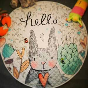 Round Carpet Blanket Rug Play-Mat Rabbit Picnic Baby Kids Cartoon Anti-Slip Home-Decor