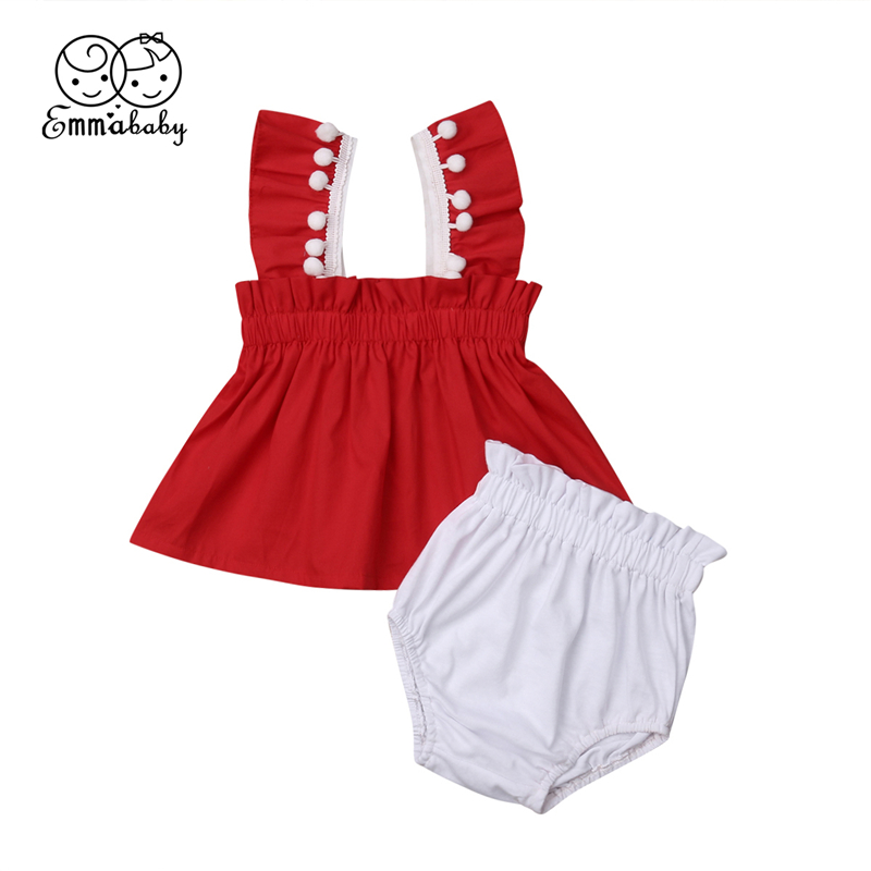 2019 Brand New Newborn Kids Baby Girls Sweet Tassel Red Dress Vest Tops+White Shorts 2Pcs Set Outfits Clothes