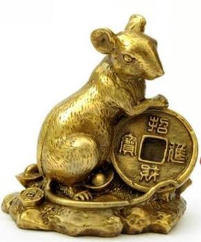 Rato zodíaco chinês Bronze pequeno lugar UM próspero negócio mouse cobre dinheiro rato