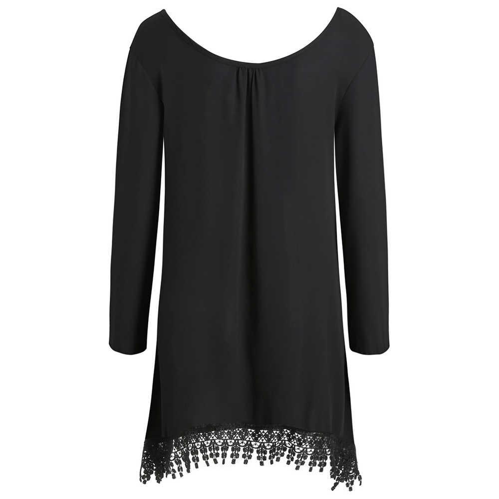 Joineles/модное Черное мини-платье с кисточками и длинными рукавами; асимметричное платье с кружевной отделкой; вечерние женские Клубные платья; короткое платье-рубашка