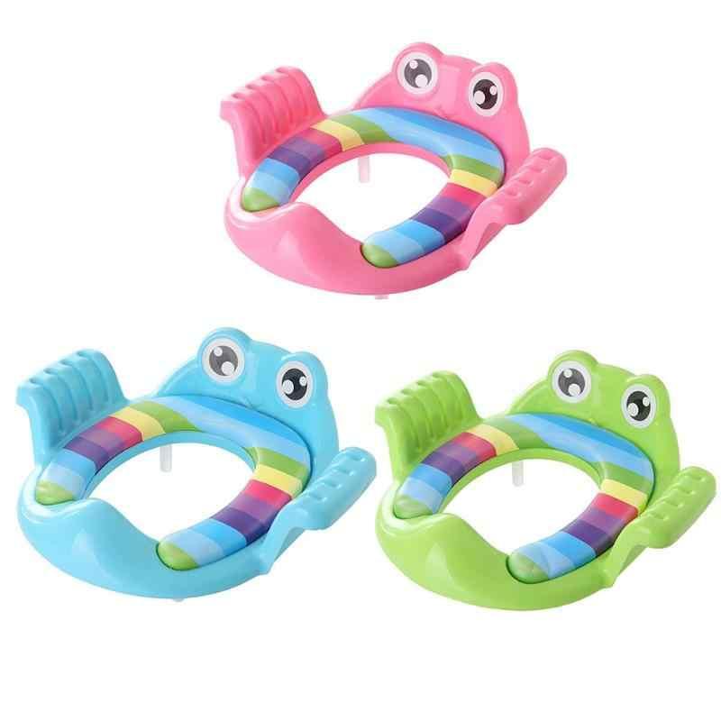 Дети мультфильм лягушка детское сиденье на горшок кольцо Pad с подлокотниками для маленьких девочек мальчиков обучение, горшок Накладка на унитаз WC Assistant
