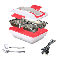 Lunch Box Portable Electric Heating Lunch Warmer Box with Removable Stainless Steel Container Food Heater and a Car Charger