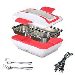 Yemek kabı taşınabilir elektrikli ısıtma öğle yemeği kutusu ile çıkarılabilir paslanmaz çelik konteyner gıda isıtıcı ve araba şarjı