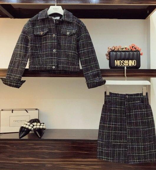 Nouvelle Deux Taille Pièces De Laine Jupe Court Manteau Haute Hiver Mode Costumes Automne À Noir Veste 2018 Courte Longues Manches Femmes T1dwUTx