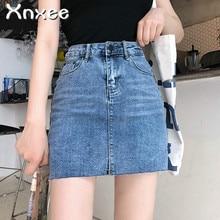 все цены на Street Wear Blue Black Casual Mini Denim Skirt 2019 Spring Summer New Women Pencil Skirt Pocket Jeans Skirt Midi Waist Skirts онлайн