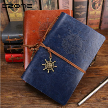EZONE PU Leather Cover Notebook Vintage Travelers Creative Pirate Anchors Spiral Stationery Gift For Boys