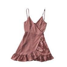 Summer Polka Dots Sexy Dress Women Ruffles V-neck Mini Retro Sleeveless Vintage Dresses
