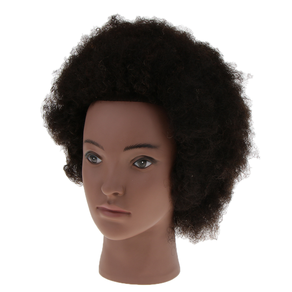 Cosmetology Afro Mannequin Head w/ Human Hair for Braiding Cornrow Practice цена