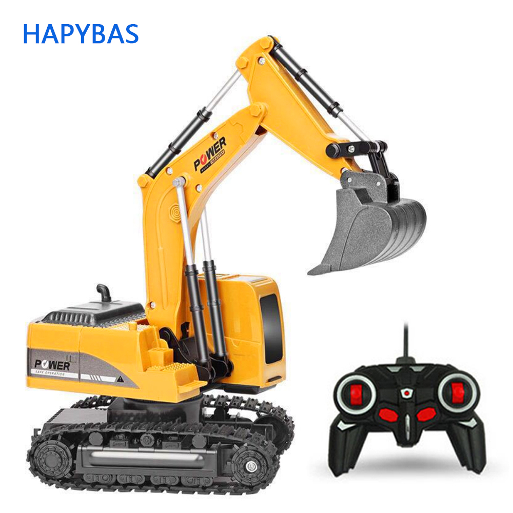 2,4 Ghz 6 canales 1:24 RC excavadora juguete RC ingeniería coche aleación y plástico excavadora RTR para niños regalo de Navidad
