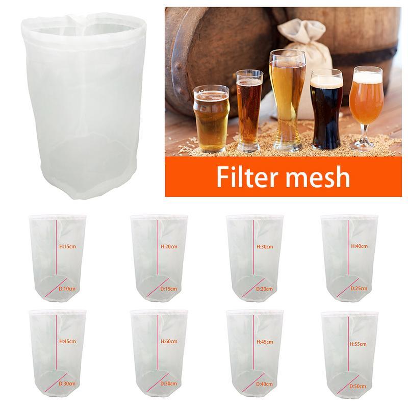 1pcs 8 Sizes Home Beer Brewing Wine Filter Bag Tea Nut Fruit Juice Milk Nylon Mesh Net Strainer Reusable
