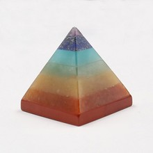 Natural High Quality Crystal Stone Colorful Chakra Pyramid Yoga Energy Multi Color Stone Ornaments Improve Meditation Ability