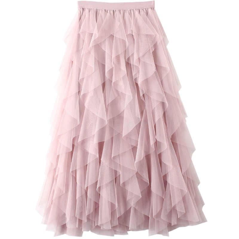 eb4ad348a22 PEONFLY Beautiful Tutu Tulle Skirt Women Korean Fashion High Waist Pleated  Skirt Female Sweet Long Maxi