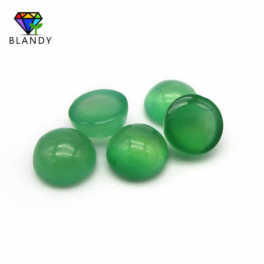 5A Loose Green Stone 4.0-7.0mm Round Cabochon Flat Back green chalcedony Natural Stone For Jewelry