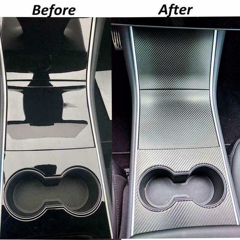 Console Wrap Sticker Accessories For Tesla Model 3 Carbon Fiber Style Car Center Dashboard Wraps Stickers DIY