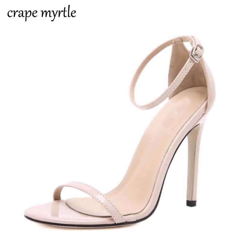 Classics Sexy Women Red Wedding Shoes Peep Toe Stiletto High Heels Shoes Woman Sandals Black Red Nude white sandals woman YMA269 цена