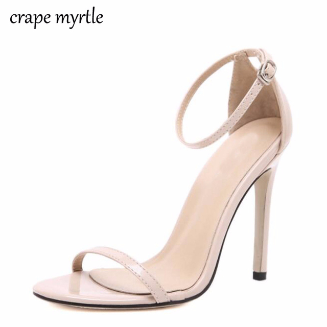 Classics Sexy Women Red Wedding Shoes Peep Toe Stiletto High Heels Shoes  Woman Sandals Black Red Nude white sandals woman YMA269 7c81d454579f