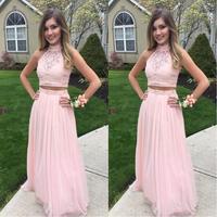 Modest Pink 2 Piece Prom Dresses Floor Length 2019 vestidos de fiesta largos elegantes de gala A Line Special Occasion Dress