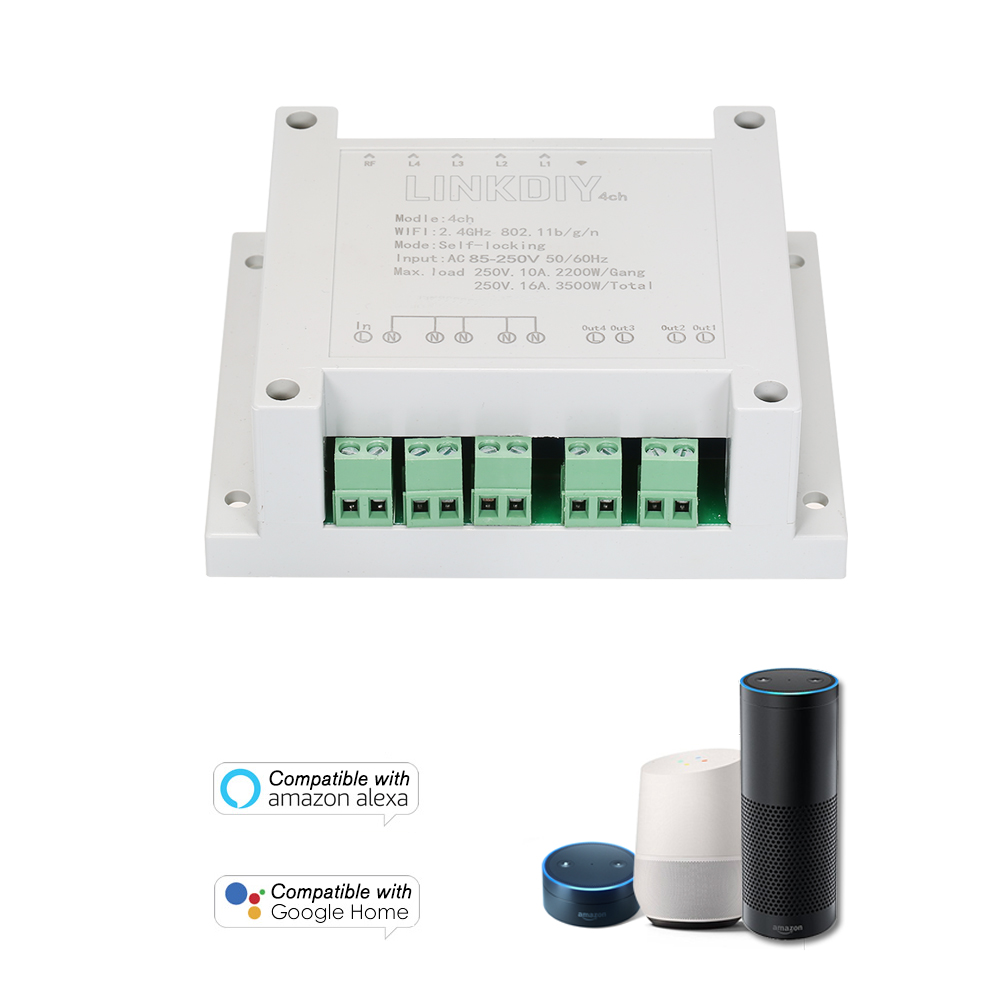 Smart Home Genteel 4ch Ac85-250v 4 Channels Din Rail Mounting Wifi Switch Universal Wireless Smart Switch For Alexa Google Home/nest Smart Home Volume Large