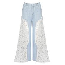 Novedad 2019 Jeans de mujer de moda de malla de retales encantadora señora estrella diseño de alta cintura destruido rasgado pierna ancha pantalones largos Pantalones