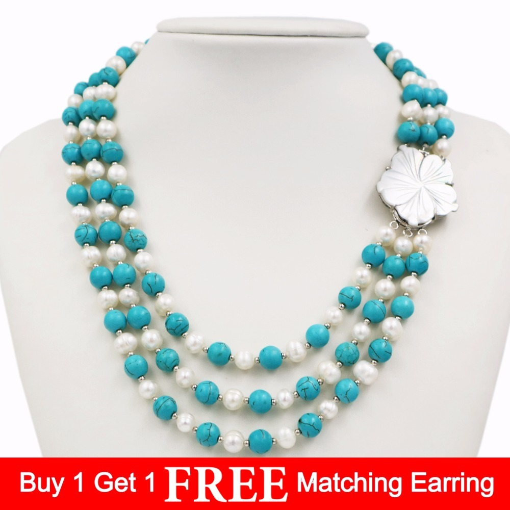LiiJi Unique New Fashion Natural Freshwater Pearl 3 Rows 7-8mm White Pearl Blue Turquoises Necklace Shell Flower Clasp 18''/45cm excellent design 6 rows flower freshwater pearl necklace pearl jewelry set white shell necklace crystal necklace christmas gifts