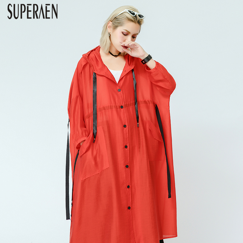 SuperAen Fashion Windbreaker Female 2019 Spring and Summer New Sunscreen Hooded Korean Style Pluz Size   Trench   Coat for Women