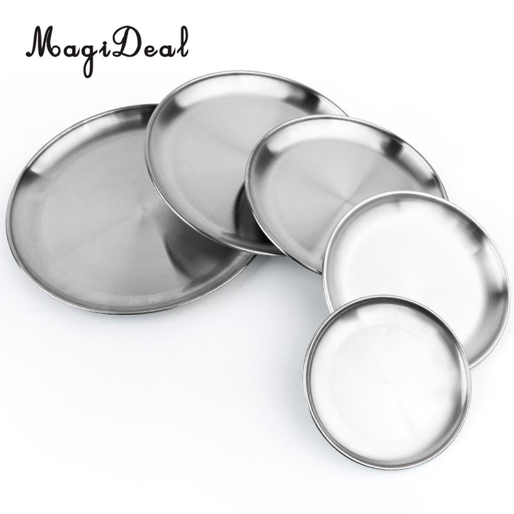 Stainless Steel Round Plate Dish Camping Picnic Food Salad Container Home Kitchenware Outdoors image
