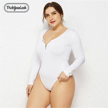 Pickyourlook Plus Size Lady Bodysuit Body Long Sleeve Solid Color Autumn Zipper Women Romper Oversize Sexy Female Large Romper