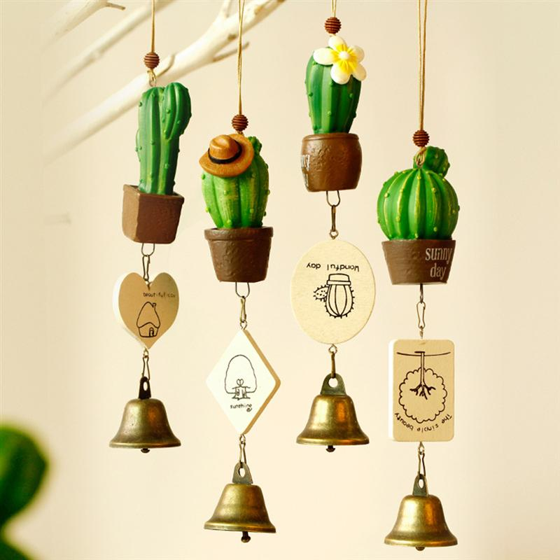 1Pc Cute Cactus Succulent Hanging Windchime Resin Pot With Bells For Home Patio Outdoors Car Haning Decor Garden